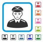 Unhappy Aviator vector icon. Human face has sorrow expression. Black, gray, green, blue, red, orange color variants of aviator symbol in a rounded rectangular frame. poster