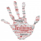 Conceptual training, coaching or learning, study hand print stamp word cloud isolated on background. Collage of mentoring, development, motivation skills, career, potential goals or competence poster