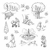 Vector collection of sketches walking in the park. People walking, couple in the park, mother with a stroller, fountain, trees, bench in the park. poster