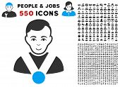 Joyful Champion vector pictograph with 550 bonus pitiful and glad user pictographs. Person face has glad expression. Bonus style is flat black iconic symbols. poster