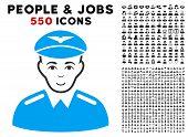 Glad Aviator vector icon with 550 bonus pity and glad jobs symbols. Person face has glad sentiment. Bonus style is flat black iconic symbols. poster