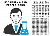 Glad Chemical Scientist vector icon with 550 bonus pitiful and glad person clip art. Person face has glad emotion. Bonus style is flat black iconic symbols. poster