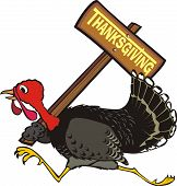 frightened turkey thanksgiving dinner escapes with a signpost in his wing poster