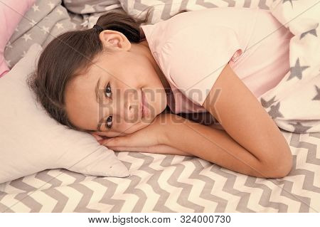 Sweet Dreams. Girl Happy Child Lay Bed Pillow And Blanket Bedroom. Lullaby Concept. Ways To Fall Asl