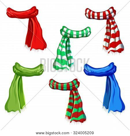 Winter Scarf Collection Isolated On White Background. Illustration Of Red, Green, Striped Scarfs. Wo