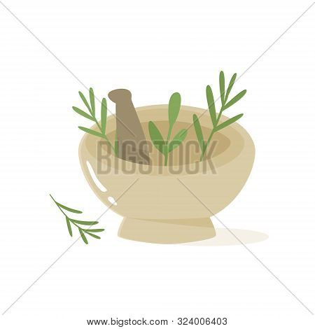 Vector Illustration With Herbs, Pounder And Pestle
