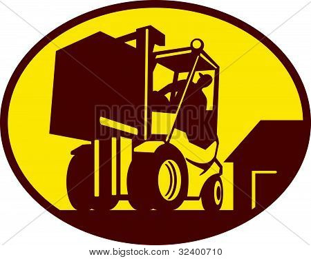 forklift operator operating forklift truck lifting