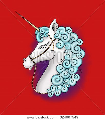 Cute Beautiful Unicorn Head. Profile View Of A Beautiful Graceful Unicorn With White Hair And Blue M