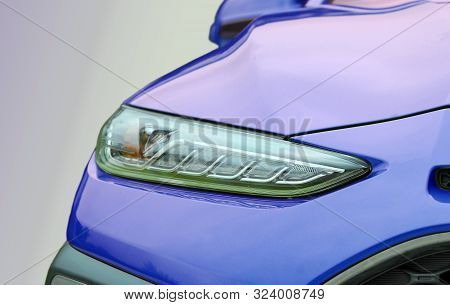 Close-up Shot Of Passenger Car Head Lamp