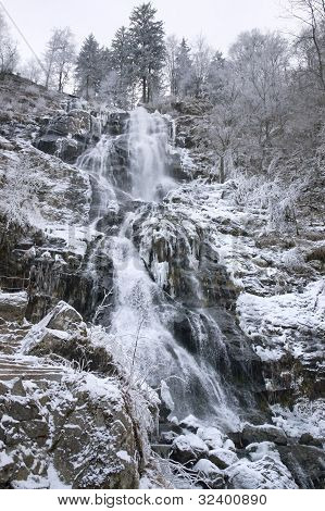 Todtnau Waterfall At Winter Time