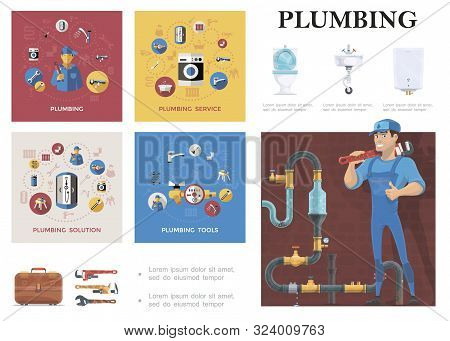 Plumber Service Elements Composition With Repairman Standing Near Sewage System Toilet Washbasin Boi