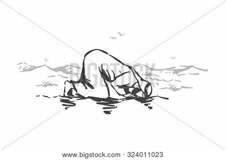 Islamic Faith, Religion, Prayer Concept Sketch. Lonely Muslim Man Kneeling And Praying In Desert San