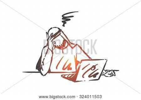 Stress, Depression, Burnout Concept Sketch. Headache, Business Crisis, Fatigue, Exhausted Arab Busin