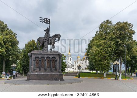 Vladimir, Russia - August 25, 2019: Monument Of Prince Vladimir And Assumption Cathedral In Vladimir
