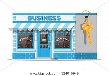 Shop Building Or Commercial Property With Key. Real Estate Business Promotional, Startup. Selling Or