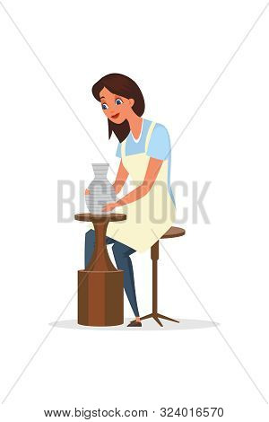 Potter, Ceramist Flat Color Vector Illustration. Happy Woman In Apron Sitting On Chair Cartoon Chara