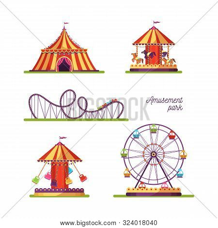 Amusement Park Attractions Illustrations Set. Merry Go Round Vintage Carousel Isolated Design Elemen