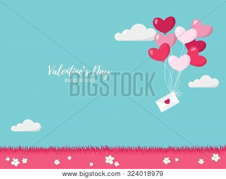 Valentines Day Background Of Pink Tone Balloons In A Heart Shape Hang Envelope Floating On Pink Mead