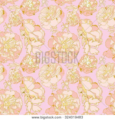 Romantic Elegant Festive Peony Botanical Pattern, Modern Peony Blossom In Pastel Tones. All Over Pri
