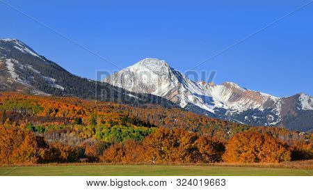 Autumn landscape in Colorado rocky mountains along scenic byway 12