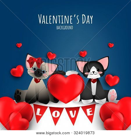 Vector Illustration Of Couple Cute Cats With Red Heart And Love Text Flag On Blue Background. Concep