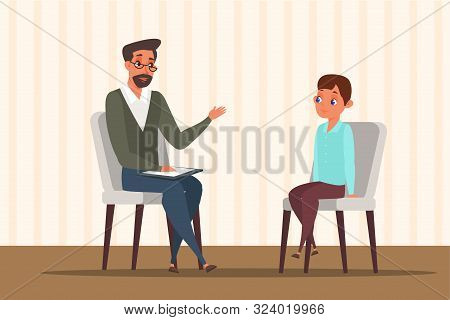Child In Psychologist Office Flat Illustration. Little Boy Talking With Psychotherapist Vector Drawi