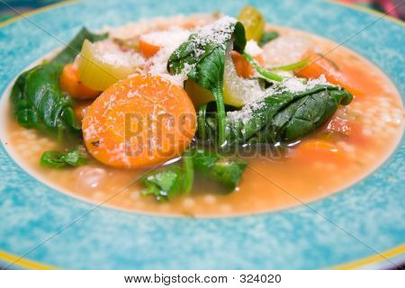 Vegetable Soup With Romano Cheese