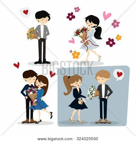 Flat Happy Loving Couple Illustration Isolated On White Background. Young People In Love Portrait. F