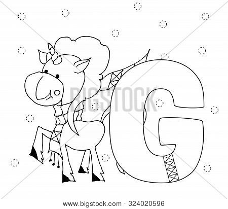 Letter L And Funny Cartoon Unicorn. Animals Alphabet A-z. Coloring Page. Printable Worksheet. Handwr