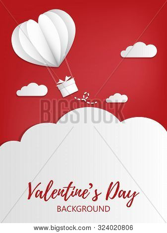 Valentines Day Background With Paper Cut White Heart Shape Hot Air Balloon With Hanging Gift Box In