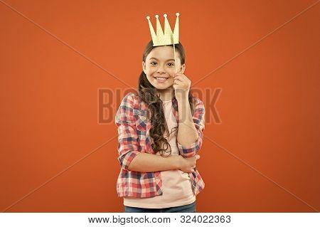 Prop, To Make It Really Fun. Happy Girl Wearing Crown Photobooth Prop On Orange Background. Happy Li