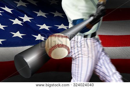 Baseball Player Hitting Ball With American Flag In Background
