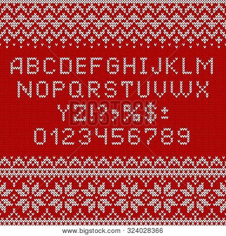 poster of Knitting font. Alphabet and norwegian ornaments for Christmas or winter season. White letters and traditional scandinavian sweater patterns on red knit background. ABC and numbers vector illustration.