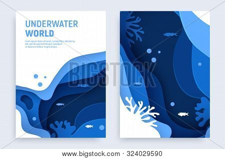 Underwater Ocean Abstract Paper Art Background Set. Paper Cut Underwater Background With Wave And Co