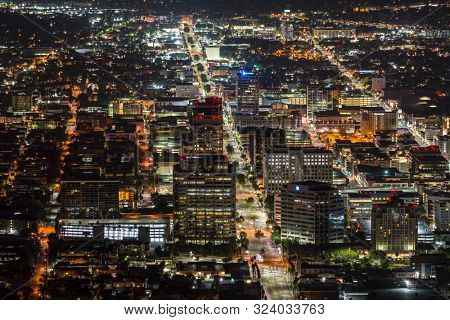 Glendale, California, USA - September 22, 2019:  Night view of Brand Blvd and downtown Glendale buildings near Los Angeles.