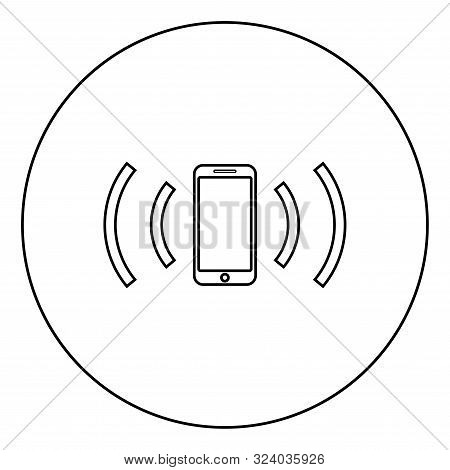Smartphone Emits Radio Waves Sound Wave Emitting Waves Concept Icon In Circle Round Outline Black Co