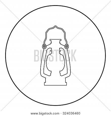 Kerosene Lamp Camping Lantern Retro Gas Lamp Vintage Icon In Circle Round Outline Black Color Vector