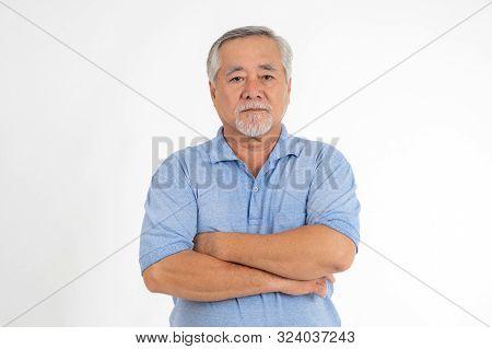Portrait Senior Man Feel Happy Isolated On White Background - Lifestyle Senior Male Concept