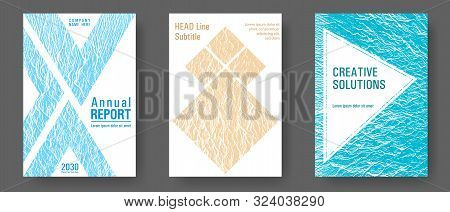 Advertising Banner Or Covers. Blue, Sea Green, Sand Color Textures. Buzzing Flux Ripple Movement Bac