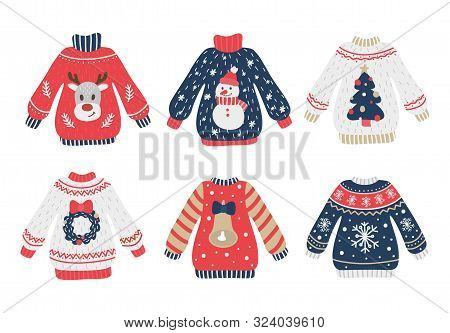 Cozy And Ugly Knitted Sweaters Christmas Set Vector Illustration. X-mas Collection Of Knitwear Jumpe