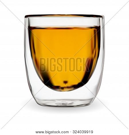 Tea Glass Isolated. Whiskey Drink Shot. Bourbon Or Rom In Transparent Glass. Coffee Cup With Espress