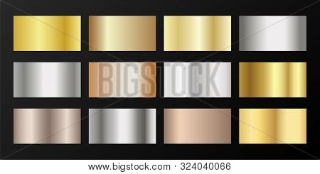 Metallic gradients vector set: golden, silver, platinum, bronze, pink gold. Shiny chrome, alloy, aluminum, titanium, copper, silver, rose gold, platinum, steel, bronze background swatches. poster