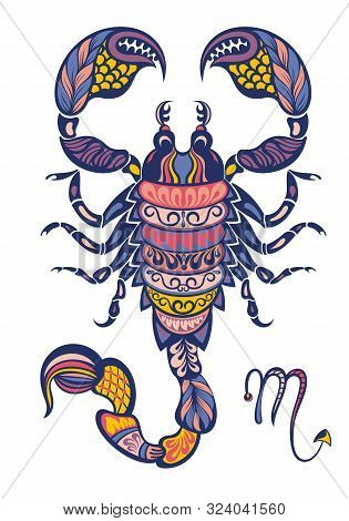 Scorpion Horoscope Sign. Scorpion Symbol Isolated On White