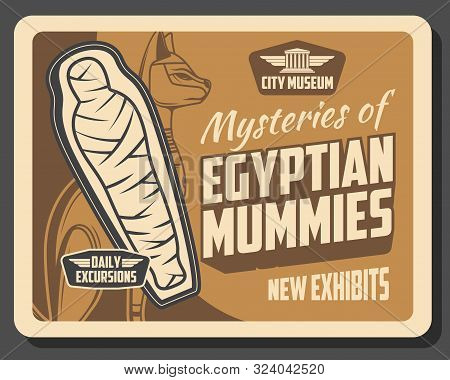 Egyptian Mummies Exhibition In Museum, Ancient Egypt History. Vector Cat Deity And Exhibits Of Decea