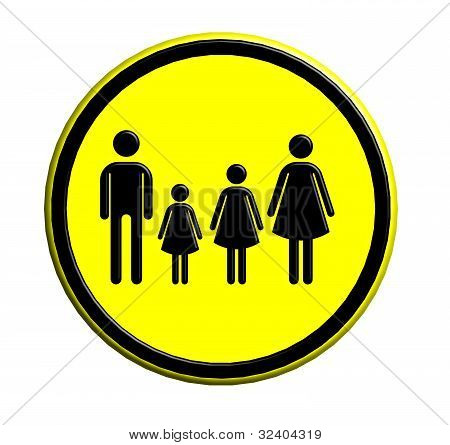 Family Icon In Traffic Plate