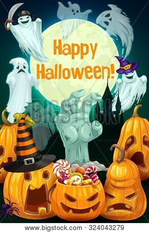 Halloween Ghosts, Pumpkins And Trick Or Treat Candies Vector Greeting Card. Horror Ghost Flying Arou