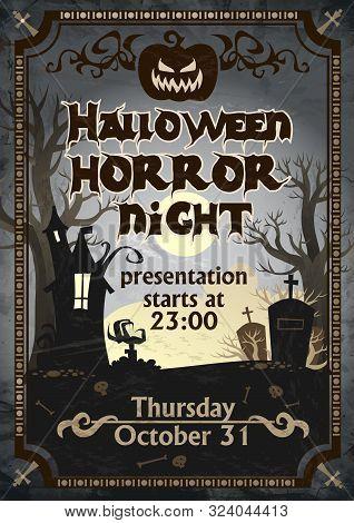 Halloween Horror Night Presentation Poster Vector Illustration. Scary Invitation On Celebrating All