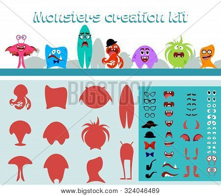 Cute Cartoon Monster Creation Kit In Flat Style, Monsters Body Parts Big Set Building Icon. Colorful