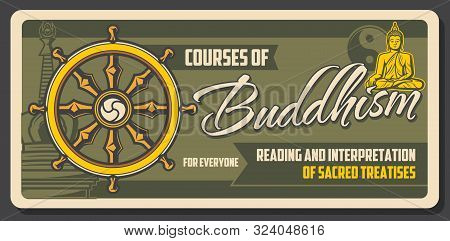 Buddhism Courses, Sacred Treaties Reading And Interpretation. Vector Dharma Chakra Wheel, Meditation