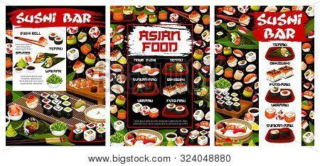 Sushi Bar Menu, Japanese Seafood Cuisine. Vector Sushi Rolls And Sauces, Oshi Zushi And Uramaki, Gun